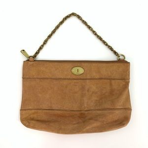 Fossil Leather Bag Shoulder Chain Purse Brown